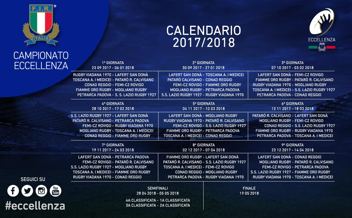 Calendario 6 Nazioni 2020.Eccellenza 2017 2018 Il Calendario Rugby San Dona